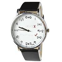 ZooooM ユニーク 算数 数学 数式 モチーフ デザイン ウォッチ 腕 時計 クォーツ フェイク レザー バンド ファッション カジュアル 男性 メンズ (文字盤:ホワイト、ベルト:ブラック) ZM-SANTOKE-WH