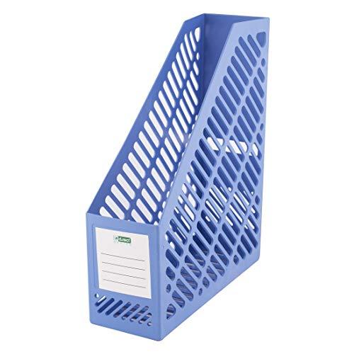 D.RECT 110581- Revistero A4, Organizador de plástico, ancho: 90mm, para guardar documentos, cuadernos, color azul