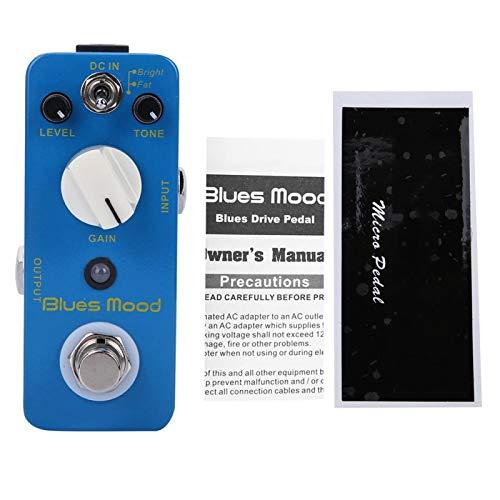 Pedal de efectos de guitarra eléctrica DC 9V con interruptor de detección de presión, pedal de efecto Overdrive estilo blues de carcasa metálica completa para crear efectos musicales increíbles