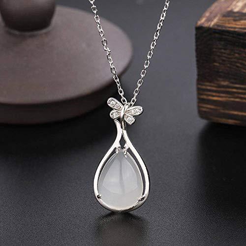 N\C Collar de calcedonia Natural Colgante con Gema Femenina Cadena de clavícula de Plata esterlina día de la Madre Regalo de cumpleaños Tocado
