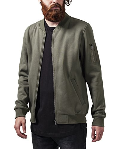 Urban Classics Herren Sweat Bomber Jacket Jacke, Grün (Olive 176), Large