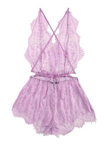 MakeMeChic-Womens-Lace-Teddy-Lingerie-Deep-V-Backless-Sleeveless-Romper-Sleepwear