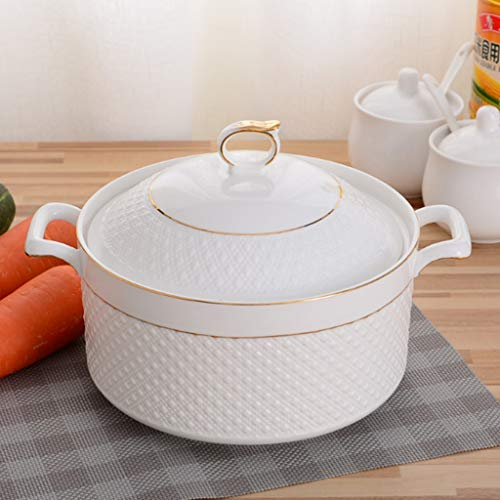 CJTMY Ceramic Soup Pot Nordic Phnom Penh Pure Color Round with Cover Bowl Tableware Household Kitchen Supplies Cooking Utensils (Color : B)