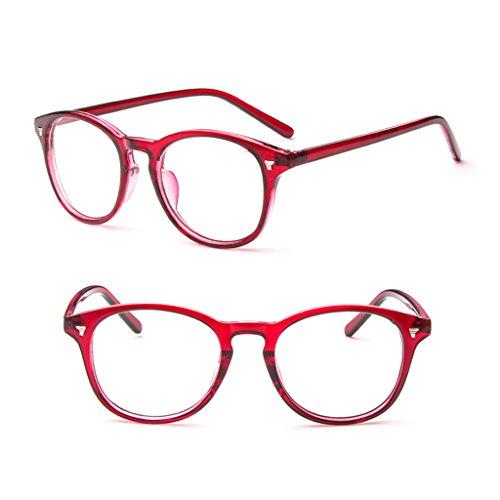 Richi PC Vintage Clear Lens Eyeglasses Frame Retro Men Women Unisex Glasses Optical (Wine Red)