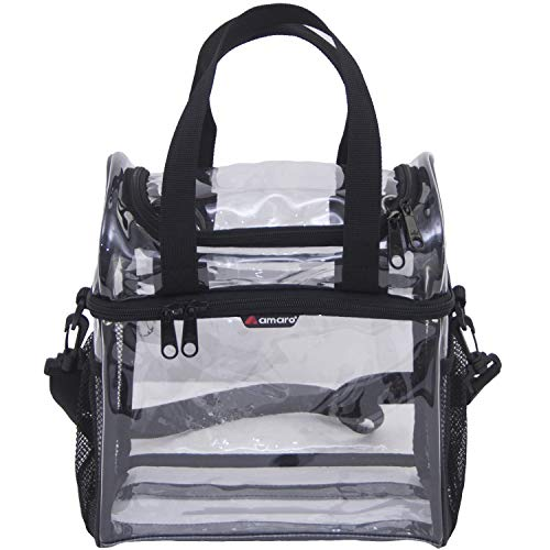 Amaro Premium 0.55mm Clear Dual Compartments Lunch Bag for Adult   Double Deck See Through Reusable Lunch Box for Workplaces   Men and Women Adjustable Shoulder Strap with Large Side Mesh Pockets
