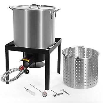 Barton X-Large Aluminum Turkey Fryer Steamer Burner BBQ Fair Clam Bake Pot 64 Qt Capacity 100,000 High-Pressure Burner