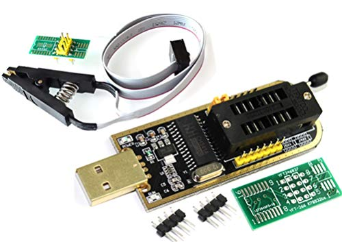 TECNOIOT CH341A 24 25 Series EEPROM Flash BIOS USB Programmer with Software & Driver + SOIC8 SOP8 Clip Adapter Module