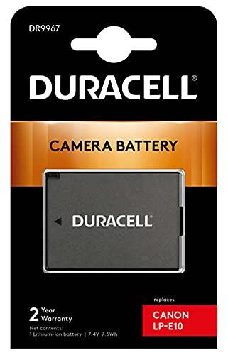 Duracell DR9967 Batteria per Canon LP-E10, 7.4 V, 1020 mAh, Nero