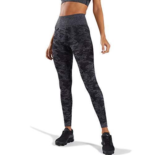 Wodowei Women's High Waisted Camo Seamless Yoga Pants 7/8 Length Capri Leggings (W426-black-M)