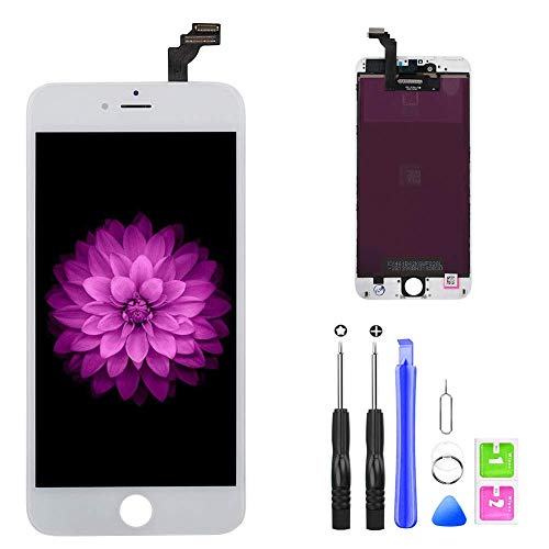 Compatible with iPhone 6 Plus Screen Replacement (White 5.5''),LCD Display & Touch Screen Digitizer Frame Cell Assembly Set with Free Repair Tools