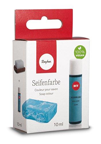 Rayher Hobby 34246374 Seifenfarbe, 10 ml, geruchsneutral, 100% vegan, schadstofffrei und ökologisch abbaubar, im wiederverschließbaren Kunststofffläschchen mit Schraubdeckel, gut dosierbar, azurblau