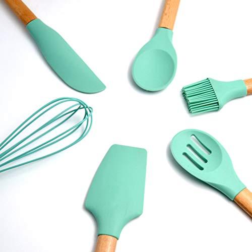 Boji Juego de utensilios de cocina de silicona, 6 unidades, cuchara, espátula, pincel, utensilios de cocina antiadherentes