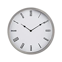 Amazon Basics 12 Roman Wall Clock, Nickel