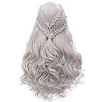 Mersi Khaleesi Wig Daenerys Targaryen Cosplay Wigs Long Silver Braided Party Hair Wigs for Halloween Cosplay (Silver) S039S 商品カテゴリー: ヘアアクセサリー [並行輸入品]