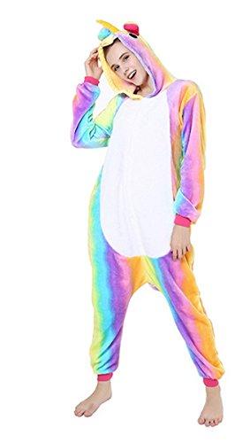 YOGLY Pijama Unicornio para Adultos Pijama Animal Invierno Entero de Franela Unisex Pijama Mono Animal Disfraz Navidad para Mujer