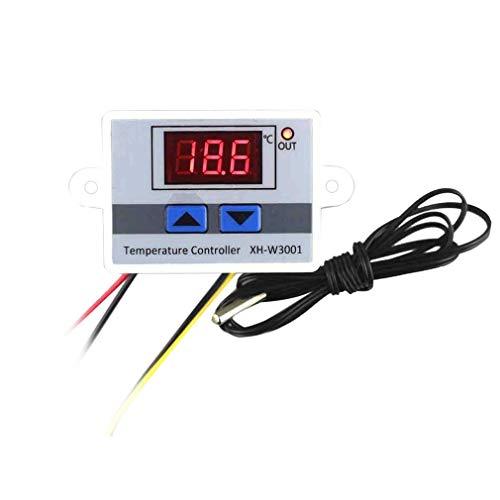 Controlador de Temperatura LED Digital Interruptor de Control del termostato Sonda Impermeable Cable de conexión Sensor de Temperatura de Alta sensibilidad (White24V)