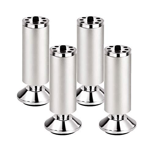 Patas de Muebles de Metal Pies de Muebles de Aleación de Aluminio Muebles Piernas Ajustables Fondo de Copa Patas de Mesa Sofá Cama Sillas Gabinete TV Armarios,Juego de 4(8cm)