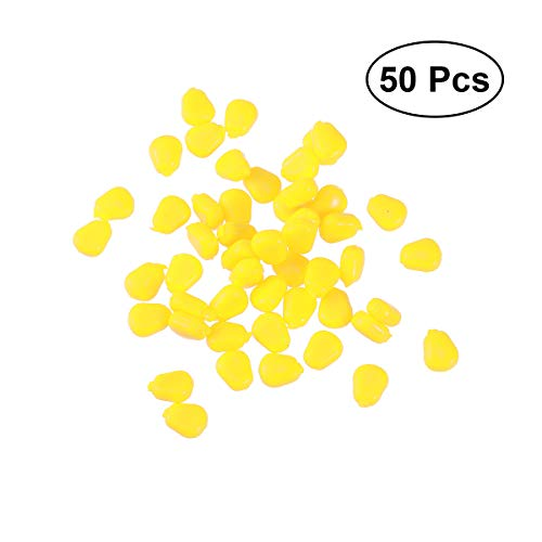 VORCOOL 50 Stück künstliche Angelköder Silikon Angel Mais Köder Fischköder (Gelb)