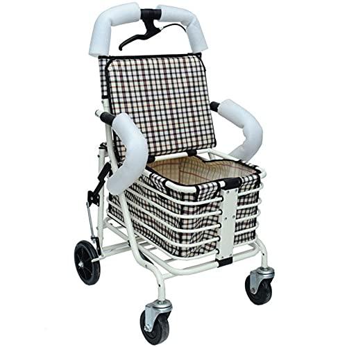 BKX Rollator con Asiento, Caminante de rollator, rolladores de 2 Ruedas con Asiento Plegable rollador Ligero, Andador de rollator con Asiento