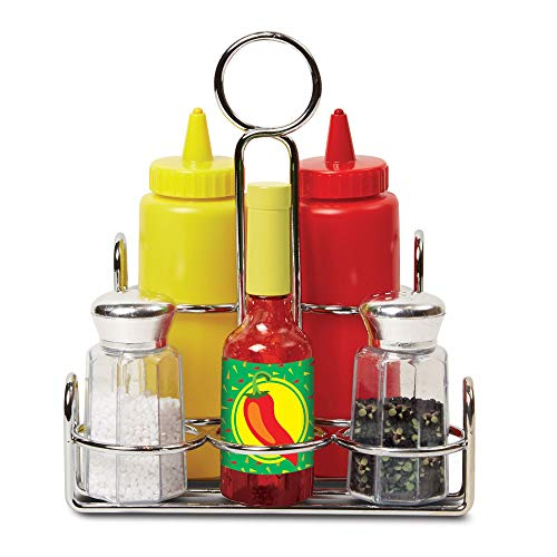 Melissa & Doug Let's Play House! Condiment Set (Pretend Play, Sturdy Metal Caddy, Realistic Sound Effects, 6 Pieces, Great Gift for Girls and Boys - Best for 3, 4, and 5 Year Olds)