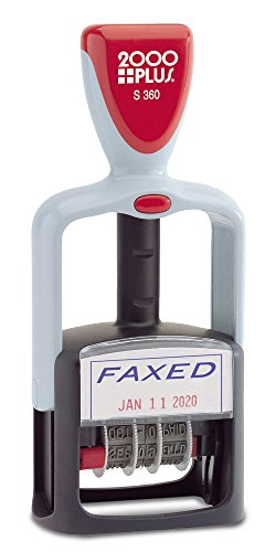 2000 PLUS Self-Inking, Two-Color Date and FAXED Stamp, 1-3/4' x 1-1/8' Impression, Red and Blue Ink (011032)