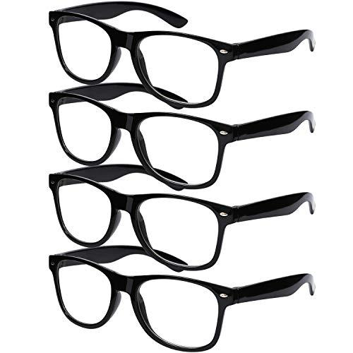 URATOT 4 Pack Black Frame Nerd Glasses Retro Clear Lens Black Framed...