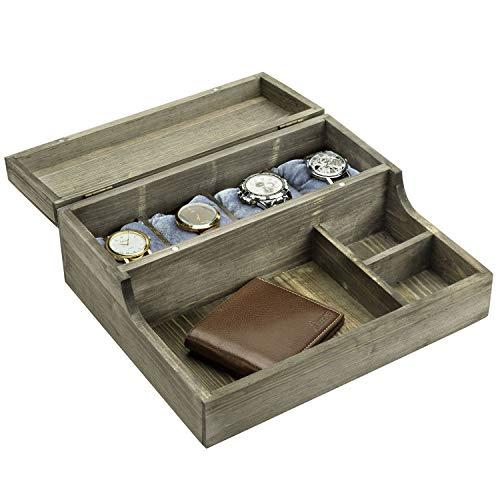 MyGift Rustikales Uhrengehäuse und Aufbewahrungsbox aus graugewaschenem Holz