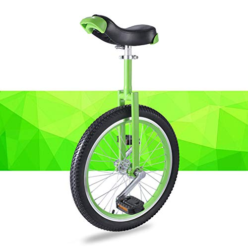 JUIANG Verstellbarer Sattel im humanisierten Design Einrad Outdoor, Mit gerändeltem rutschfestem Sitzrohr Einrad, Starke Anti-Rutsch-Leistung Erwachsenentrainer Einrad, für Kinder 18 inch Green