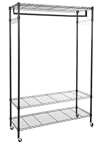 Modrine Clothing Rolling Rack 3 Tiers Heavy Duty Garment Rack with Lockable Wheels 2 Side Hooks and 1 Clothes Rod Black