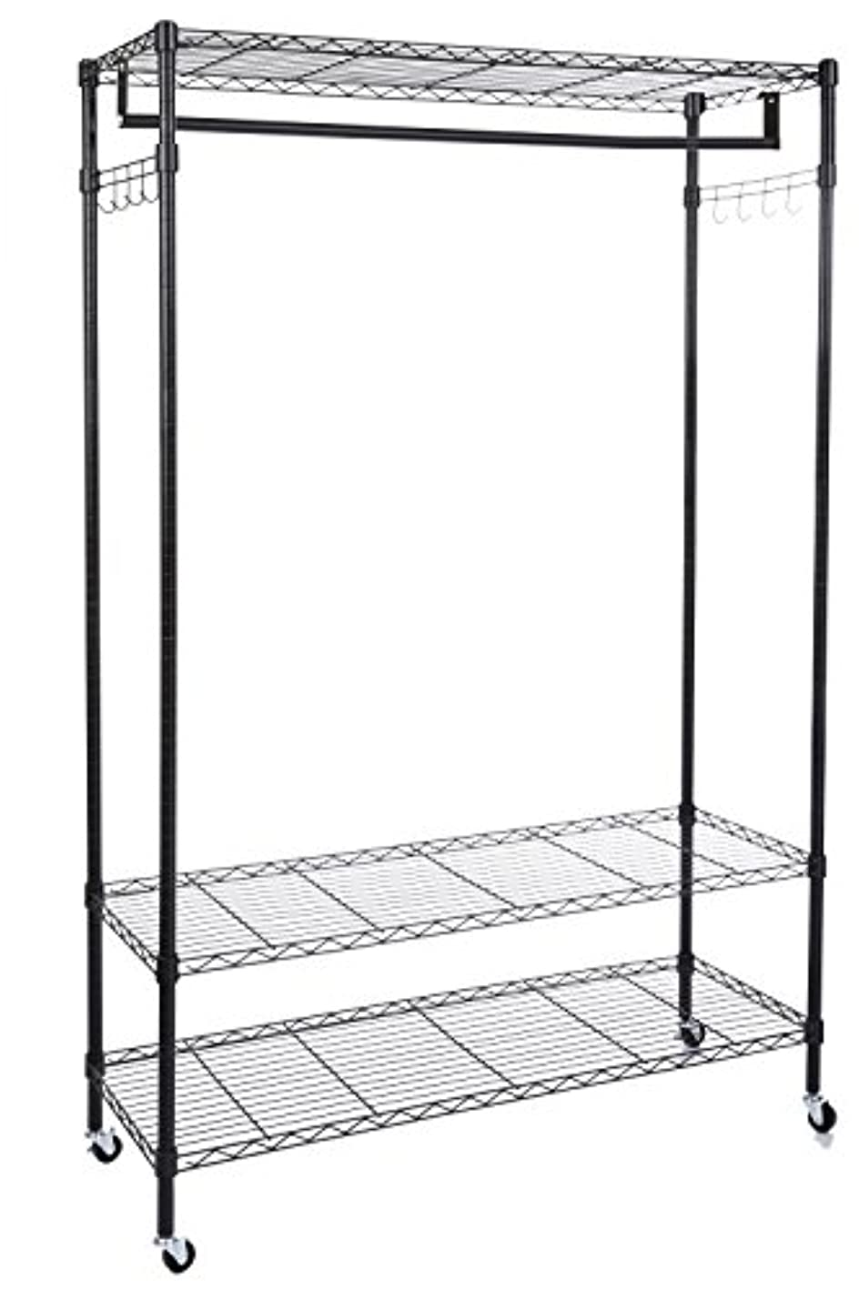 Modrine Clothing Rolling Rack, 3 Tiers Heavy Duty Garment Rack, with Lockable Wheels, 2 Side Hooks and 1 Clothes Rod (Black)