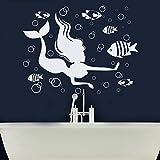 Sirena pegatinas de pared diseño náutico pescado espuma baño niño niña dormitorio decoración del hogar vinilo etiqueta de la ventana papel tapiz