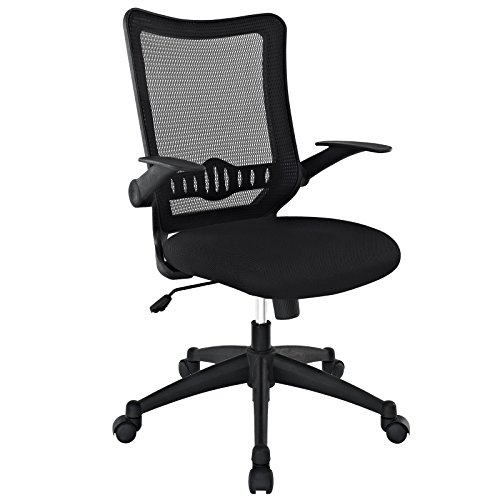 Modway Explorer Computer Desk Ergonomic Mesh Office Chair With Flip-Up Arms In Black
