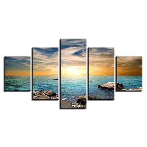WRZWRM Kunst Gemälde Hd Druck Dekor Wand 5 Stücke Riff Stein Blau Meerwasser Sonnenuntergang Seascape Leinwandbild 5 Leinwand malerei 5