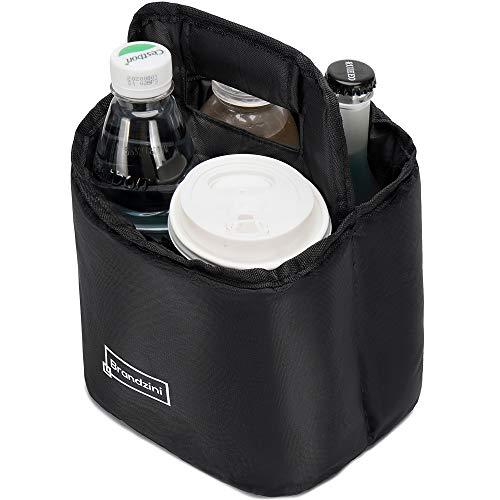 Brandzini Reusable Insulated Cup Carrier, Lightweight Padded and Foldable Drink Holder with Detachable dividers (Fits Maximum 2 Large Size Coffee Due to Wide Lid Size)