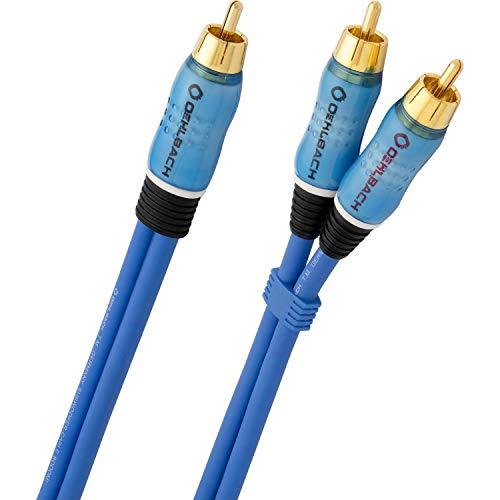 Oehlbach BOOOM 200 - Subwoofer Y-Cinch-Kabel (2 x Cinch auf 1 x Cinch) - Druckvolle Basswiedergabe & effektive Schirmung - 2 m - blau