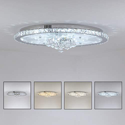 LED-Deckenleuchte Europäische Runde Kristall Deckenlampe, Dimmbar mit Fernbedienung, Deckenbeleuchtung für Wohnzimmer, Schlafzimmer, Lobby, Hotel (Ø56cm-40Watt)