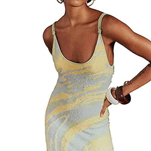 Vestido ajustado de punto estampado para mujer Y2k Summer Hollow Out, 2021 Primavera Verano Vestido a media pierna de playa sin mangas, sexy vestido de verano, vestidos de playa para mujer S Sky-Blue