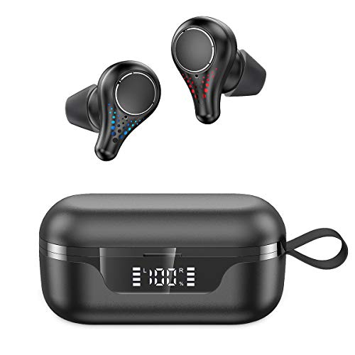 Wireless Earbuds,GPED Bluetooth Headphones Bluetooth 5.0 in-Ear Headphones with 42H Playtime HiFi 3D Stereo Sound Built-in Mic Earphones CVC8.0 Apt-X with Charging Case for Sports,Black