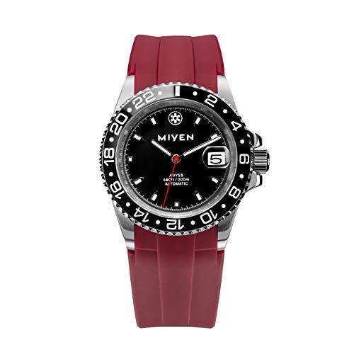MIYEN MUNICH - Correa de caucho Abyss Black Red 1040-11-5 automática para hombre, cristal de zafiro, cerámica, 20 ATM.