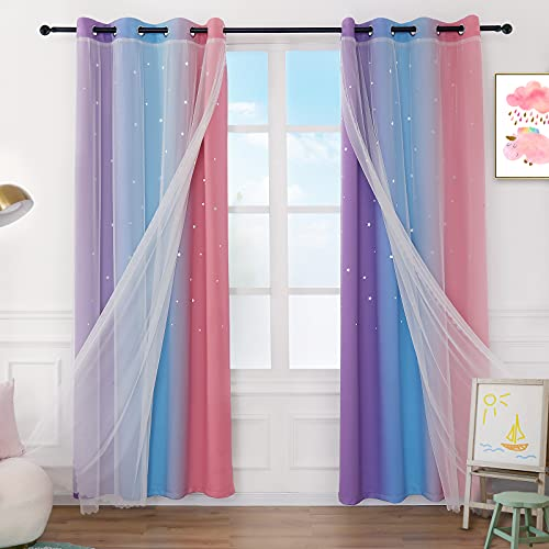 Anjee Star Curtains for Girls 2 in 1 Double Layer Cutout Star Light Blocking Ombre Grommets Top Drape with Lace Sheer Voile Gauze for Nursery Kids Bedroom 2 Panels 52 x 63 inch, Purple Blue Pink