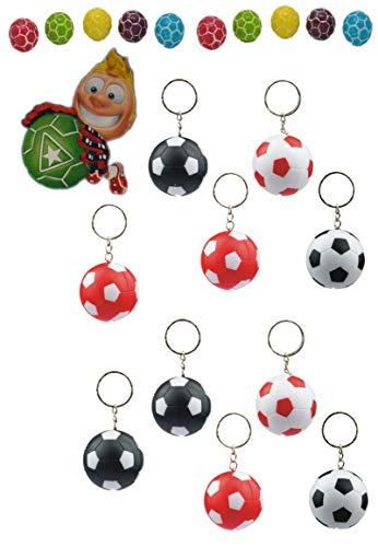 ⚽ 10 x Fussball Schluesselanhaenger mit LED-Lampe in 4 Farbkombinationen + 10 Fußball Kaugummis ⚽