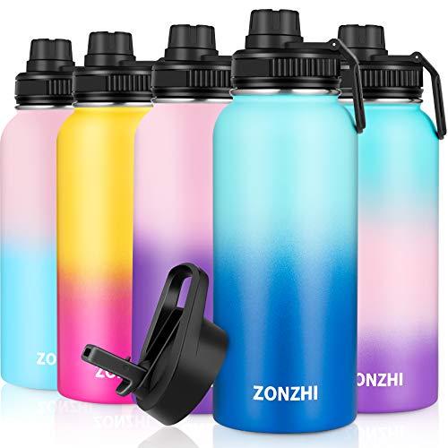 ZONZHI Borraccia Termica in Acciaio Inox 1L-A Prova di Perdite- Bottiglia Termica per Lo Sport,Senza BPA con Spazzola di Pulizia Gratuita -Ideale per all'Aperto, Yoga, Palestra - 2 Coperchi
