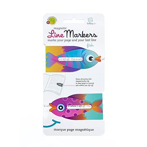 Linemarker Page Marker, Book Holder, Magnetic Bookmarks Set of 2, Magnet Page Holder Clip for Reading (Fish)