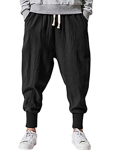 Pengfei Men's Joggers Pants Drawstring Elastic Pockets, Black, Medium