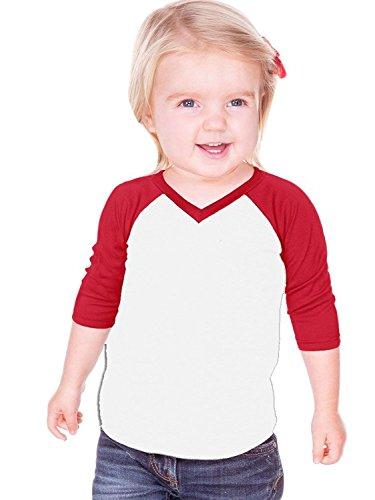 Kavio! Unisex Infants Sheer Jersey Contrast V Neck Raglan 3/4 Sleeve White/Red 24M