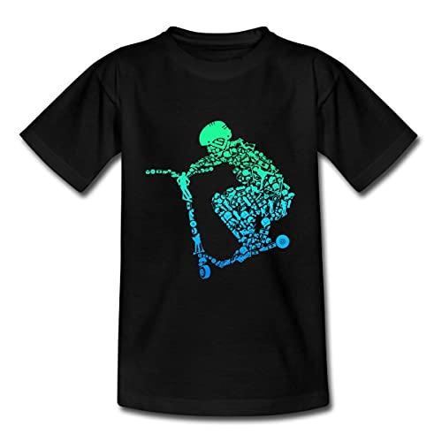 Spreadshirt Scooter Roller Stunt Freestyle Mit Helm Sprung Teenager T-Shirt, 152-164, Schwarz
