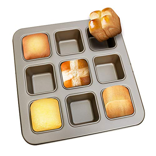 MyLifeUNIT Mini Loaf Pan, Nonstick Brownie Pan for Baking, 11 x 11 x 1.6 Inches