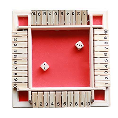 ConPush Shut The Box 4 Spieler Educational Numeracy Skills Game Geschenk Würfelspiel Board Spielzeug für 2-4Spieler Digital Flop Game (Rot)