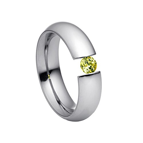 Heideman Ring Damen Intensio aus Edelstahl Silber farbend poliert Damenring für Frauen mit Swarovski Stein Zirkonia grün im Brillant Schliff 4mm