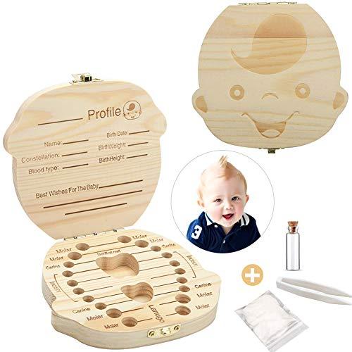 Zahnbox aus Holz,Milchzähne Box, Zahndose für Milchzähne, Milchzahndose, Zahndöschen für Kinder, Milchzahnbox, Zahnschachtel, Zahnbox für Geschenk (Junge)